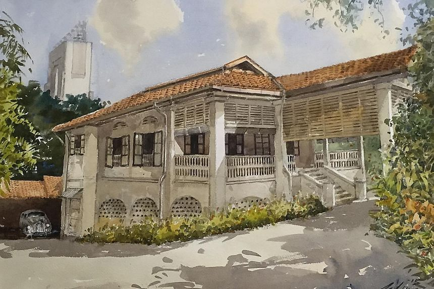 Mr Ong painting outside the late Mr Lee's house at 38, Oxley Road recently. The Cultural Medallion recipient's painting of the house (below right), which was commissioned by Mr Lee's younger son, Hsien Yang, features it in its original condition in t
