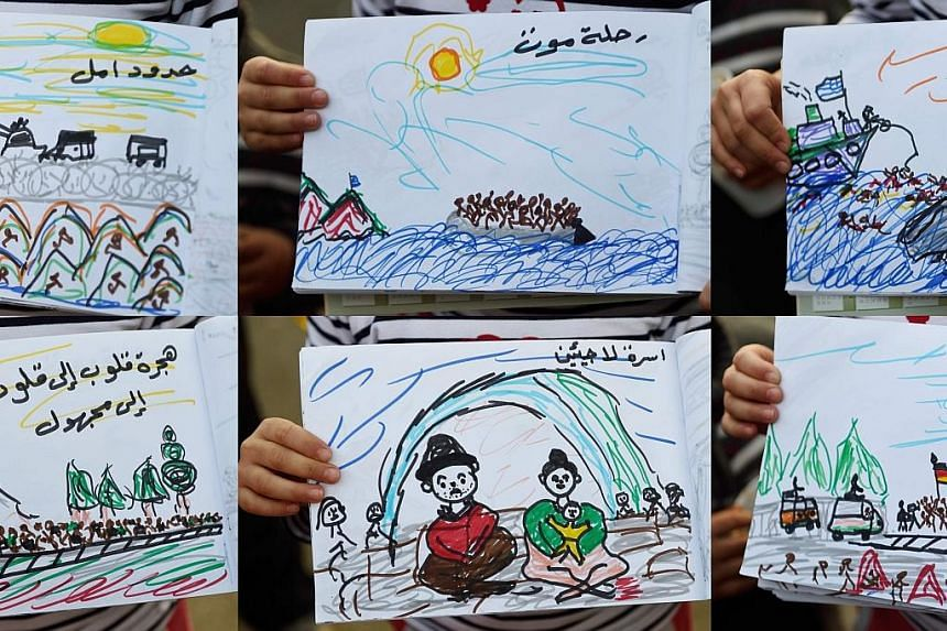 Drawings by an eight-year-old from Aleppo, Syria, of her journey to a refugee camp on the Greece- Macedonia border. The last round of talks in Geneva between the Syrian government and the main opposition body collapsed last month.