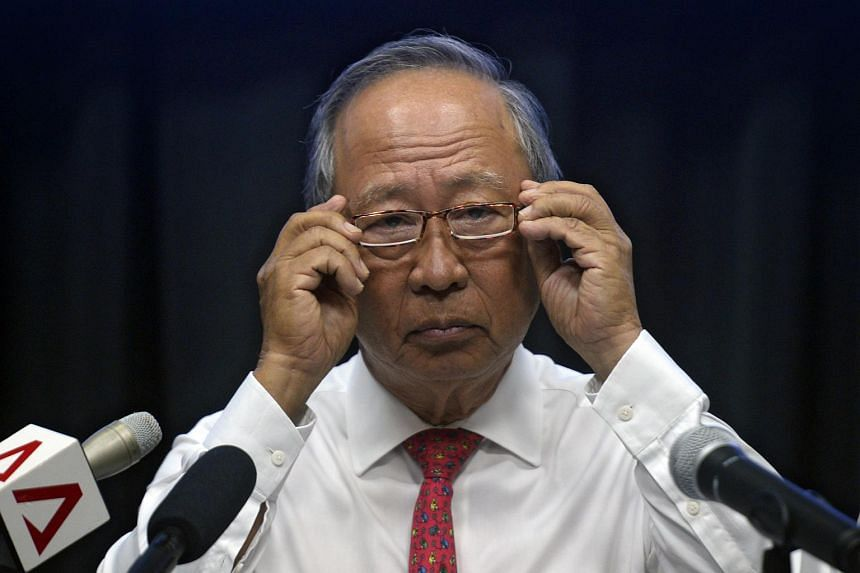 Dr Tan Cheng Bock during a press conference to issue a statement on March 11, 2016.