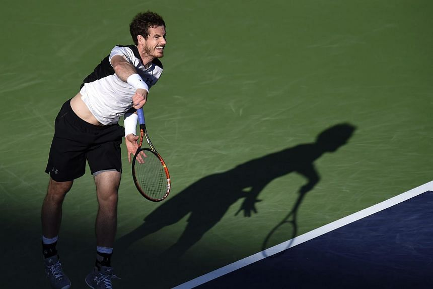 Andy Murray serves against Marcel Granollers during his second round match at the BNP Paribas Open in Indian Wells.