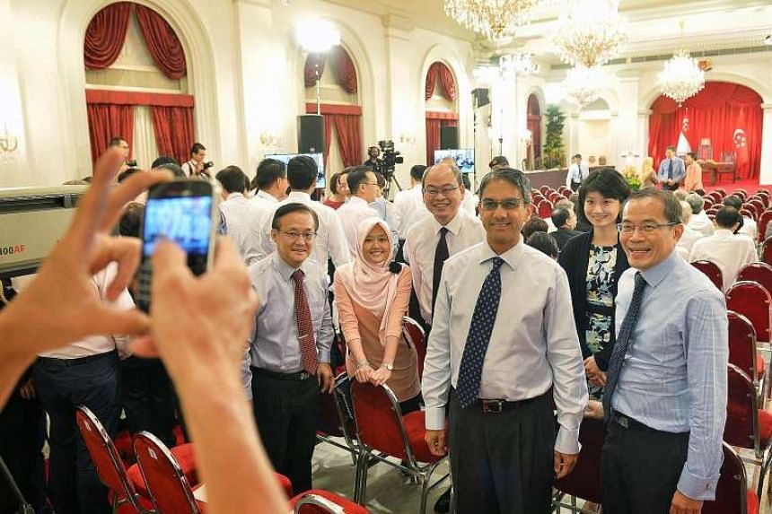 (From left) Former MP Seng Han Thong, People's Action Party MPs Rahayu Mahzam (Jurong GRC) and Yee Chia Hsing (Chua Chu Kang GRC), Workers' Party Non-Constituency MP Leon Perera, PAP MP Sun Xueling (Pasir Ris-Punggol GRC) and WP NCMP Dennis Tan at th