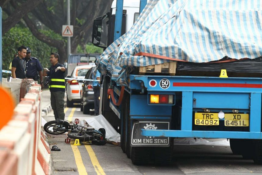 A fatal accident involving a motorised bicycle and a trailer on Oct 3, 2015.