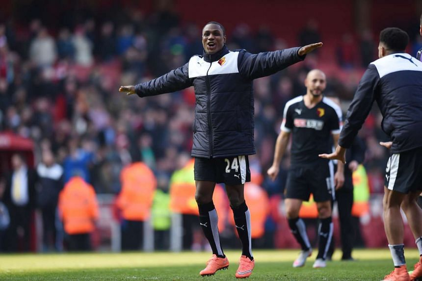 Watford's Odion Ighalo celebrates after the FA Cup Quarter Final match at Emirates Stadium on March 13, 2016.