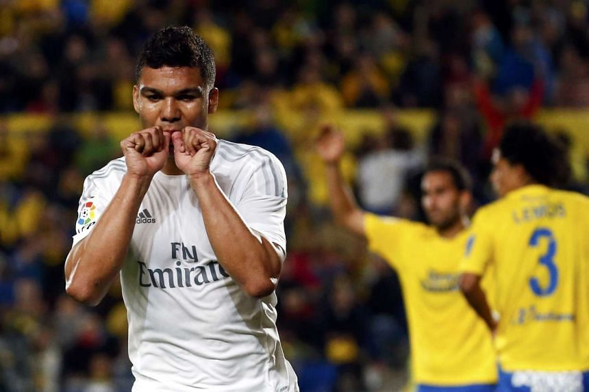Real Madrid's Casemiro celebrates after scoring a goal at the Las Palmas v Real Madrid match in Gran Canaria stadium, Las Palmas de Gran Canaria, Spain on March 13, 2016.