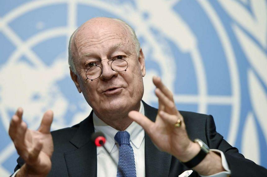 UN mediator Staffan de Mistura speaking during the Syrian peace talks at the UN headquarters in Geneva on March 14, 2016.