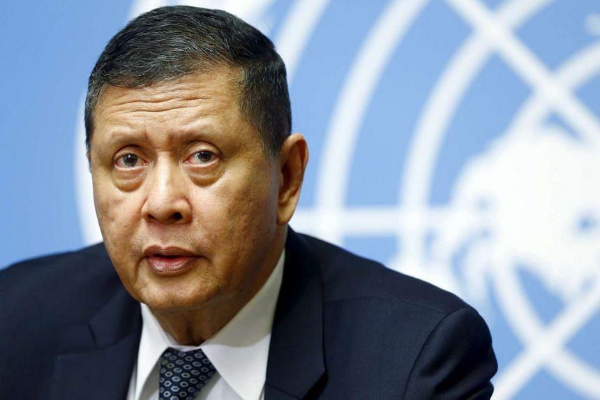U.N. human rights investigator on North Korea Marzuki Darusman speaks to media in Geneva, Switzerland March 14, 2016