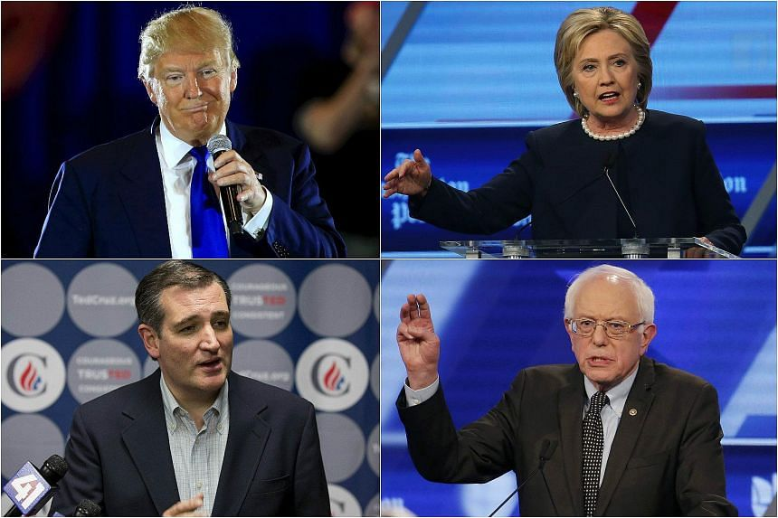 (Clockwise from top left) US Republican presidential candidate Donald Trump, US Democratic presidential candidate Hillary Clinton, and US presidential candidate Bernie Sanders and US Republican presidential candidate Ted Cruz.