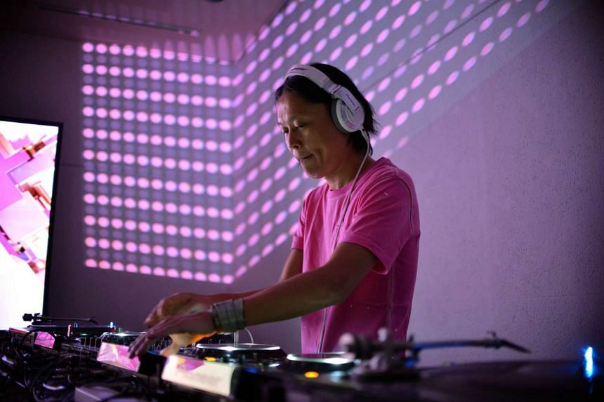 Japanese techno DJ Ken Ishii performing at an art gallery in Tokyo, on Sept 3, 2015.