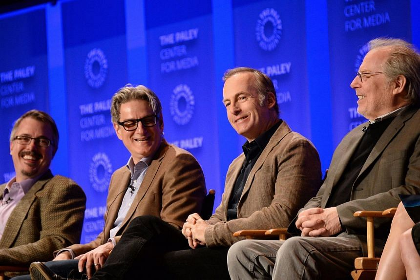 Better Call Saul's writers and executive producers Vince Gilligan (from left), Peter Gould, and actors Bob Odenkirk and Michael McKean attend The Paley Centre For Media's 33rd Annual Paleyfest in Los Angeles.