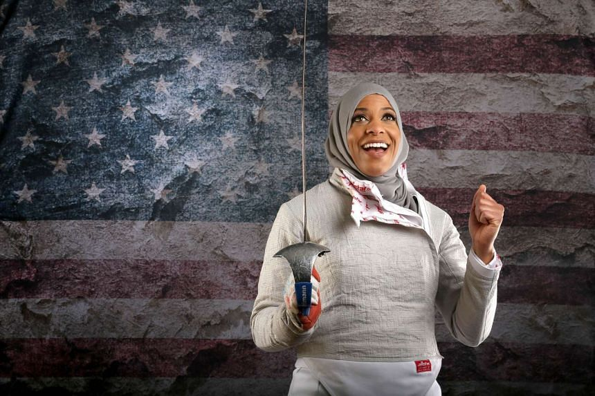 Fencer Ibtihaj Muhammad poses for a portrait at the 2016 Team USA Media Summit at The Beverly Hilton Hotel in California.