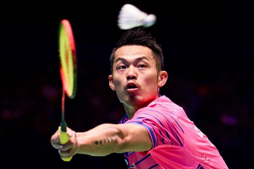 China's Lin Dan returns during the All England Open Badminton Championships men's singles final match in Birmingham on Sunday.