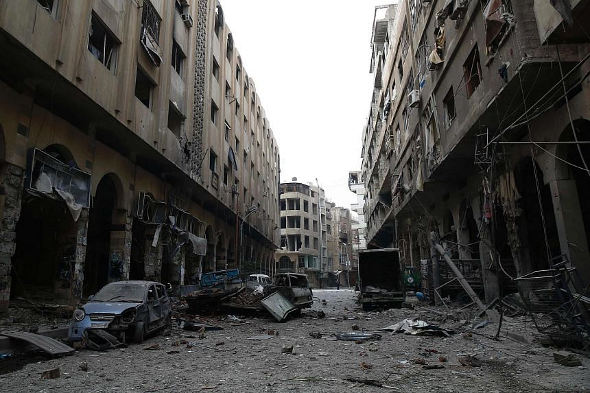 This file photo taken on Dec 13, 2015 shows a view of the Syrian town of Douma in the eastern Ghouta region, a rebel stronghold east of the capital Damascus, following air strikes.