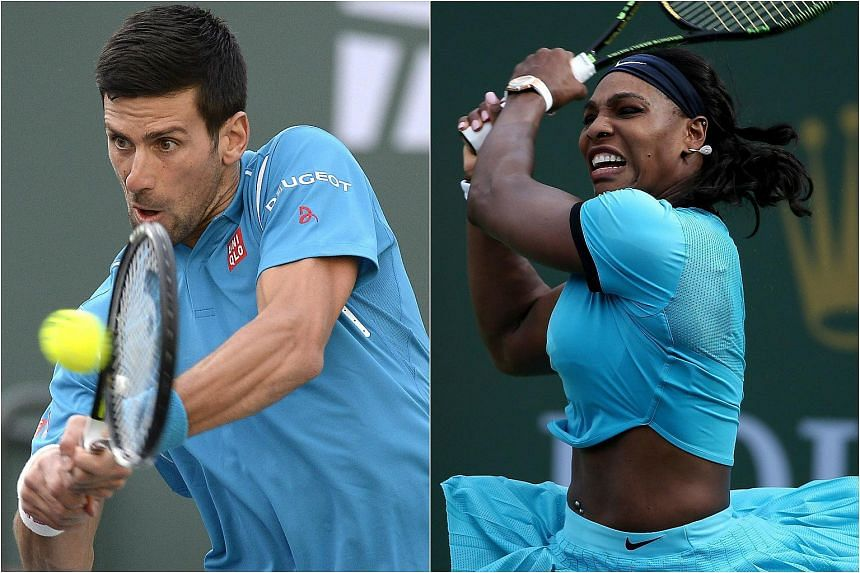 Novak Djokovic (left) and Serena Williams both advanced to the next round of competition in the Indian Wells hardcourt tennis tournament.