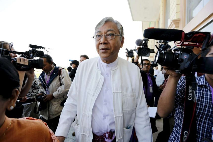 Htin Kyaw arrives at Parliament in Naypyidaw on February 1, 2016.