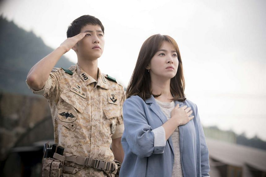 Song Joong Ki (left) and Song Hye Kyo in Descendants Of The Sun.