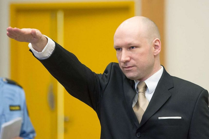 Anders Behring Breivik making a Nazi salute as he arrives for his lawsuit on March 15, 2016.