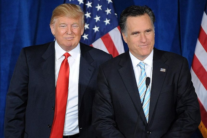Then Republican presidential candidate Mitt Romney (left) addressing supporters after being endorsed by Mr Trump in Las Vegas in 2012. Mr Romney will make his first venture into the 2016 campaign alongside Mr Kasich in Ohio.