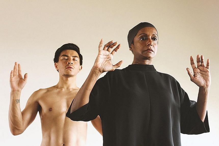 Jo Kukathas (right),who plays the titular role in Ophelia, with Thomas Pang (left) as Hamlet.