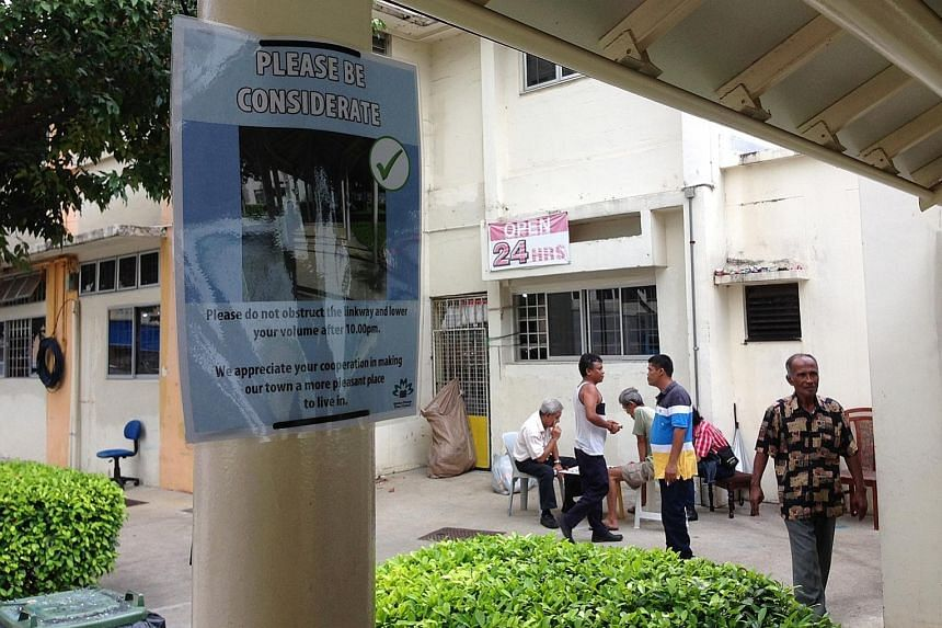 """The posters at the void deck and covered walkway of Block 11, Haig Road, were removed yesterday and replaced by new ones with the heading, """"Please be considerate"""". A Marine Parade Town Council spokesman said the aim of the original posters was to """"de"""