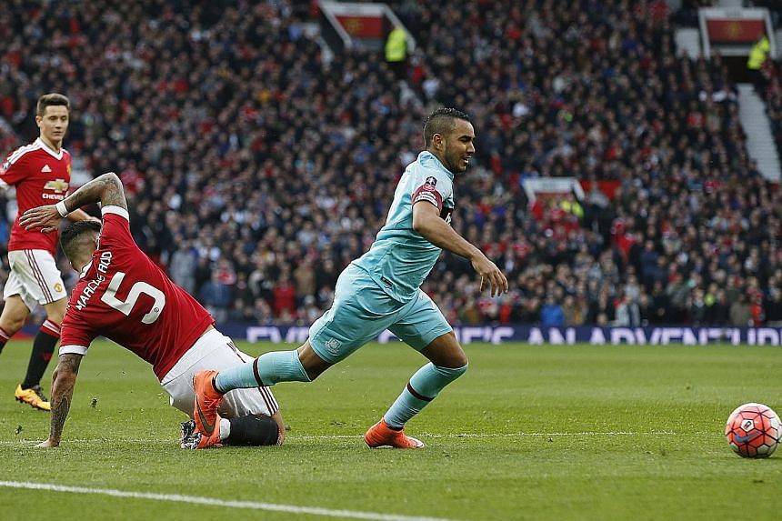 West Ham's Dimitri Payet going down in the box after a challenge from Manchester United's Marcos Rojo. Replays showed that Payet received minimal contact from the defender.