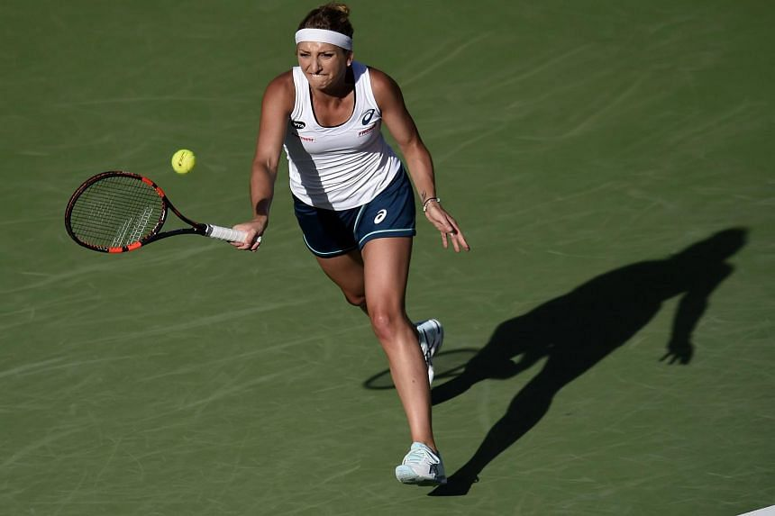 Timea Bacsinszky of Switzerland in action at the BNP Paribas Open in Indian Wells, California, on March 14, 2016.