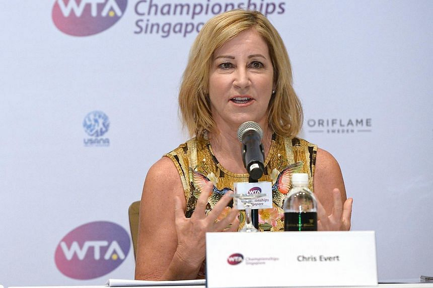 Chris Evert at a press conference to launch the WTA Championships in Singapore, on 27 Jan 2014.