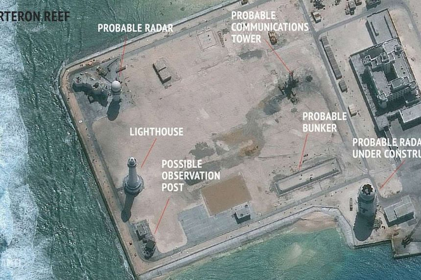 A satellite image released on Feb 23, 2016 showing possible radar facilities being built on the Spratly Islands in the disputed South China Sea.
