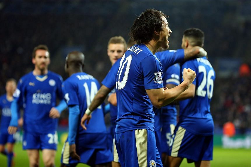Leicester City's Shinji Okazaki (centre) celebrates his goal during the English Premier League football match between Leicester City and Newcastle United.