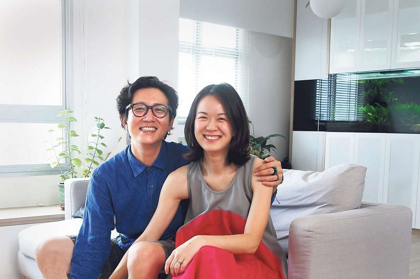 Newlyweds Darren Lee (left) and How Kay Lii have transformed their 92 sq m flat into a home that matches their needs and lifestyle.