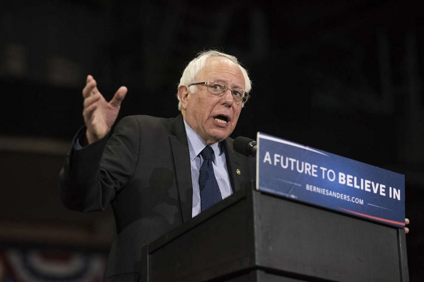 US presidential candidate Senator Bernie Sanders speaks during a campaign rally in Youngstown, Ohio on Monday.
