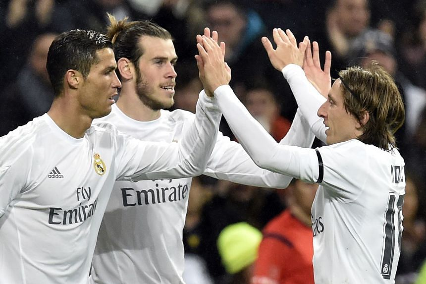 Real players (from left) Cristiano Ronaldo, Gareth Bale and Luka Modric during a match in January 2016.