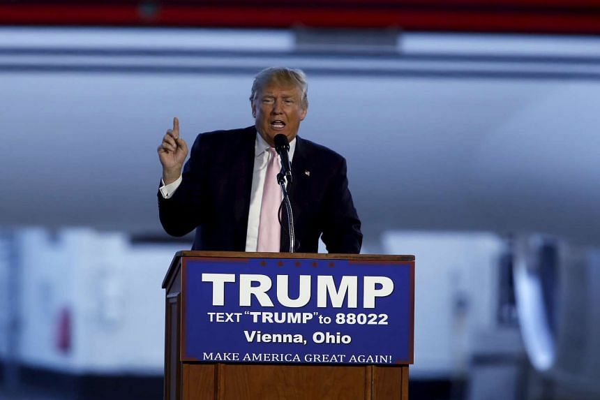 Republican presidential candidate Donald Trump speaks at a campaign rally at Winner Aviation in Ohio, on March 14, 2016.