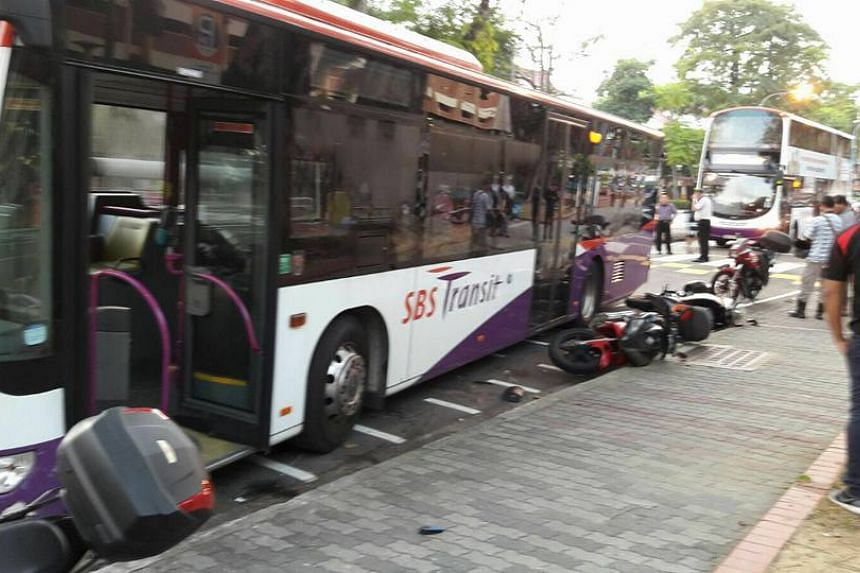 An SBS Transit bus crashed into seven parked motorcycles along Changi Village Road on March 16, 2016.