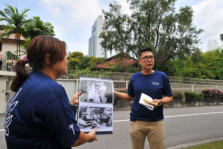 Tribe co-founders Cheong Yoke Chun (left) and Jason Loe speaking at 38 Oxley Road about a new guided tour on the life of Mr Lee Kuan Yew, on March 16, 2016.