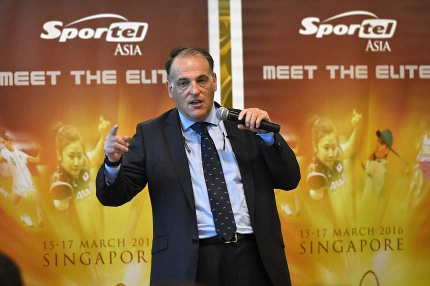 Spanish football league La Liga president Javiar Tebas speaks during the Sportel Asia conference in Singapore on March 16, 2016.