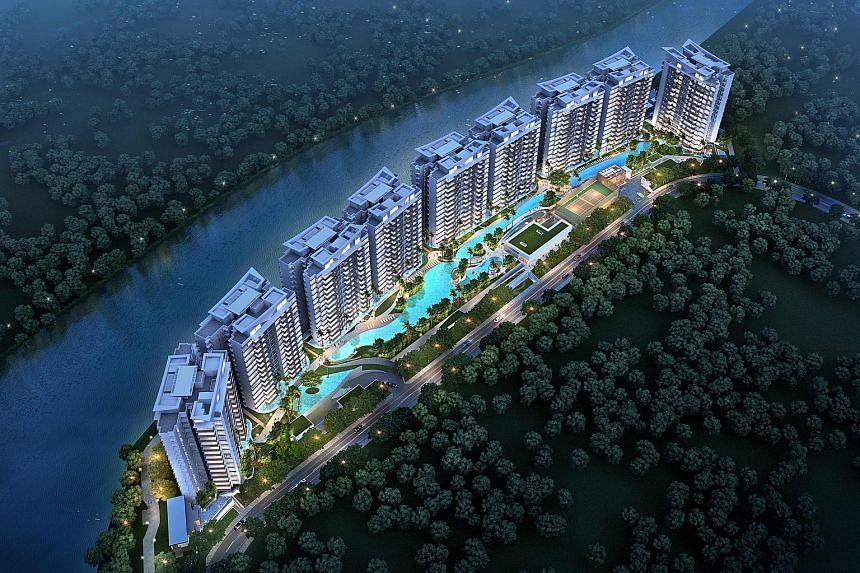 Kingsford Waterbay (left) in Upper Serangoon was one of the two best-selling private projects last month, with 18 units sold. The other is The Panorama in Ang Mo Kio.