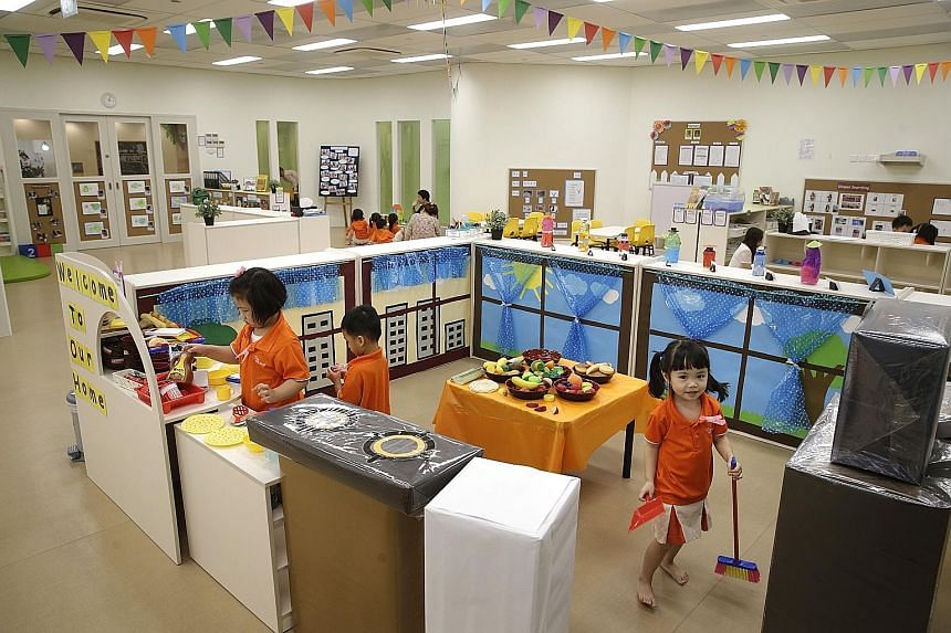 The new My First Skool childcare centre at Punggol Waterway Point has a floor area of 1,648 sq m and can accommodate 375 children. This means shorter waiting times for parents. Three more jumbo MFS childcare centres are slated to open in Edgefield Pl