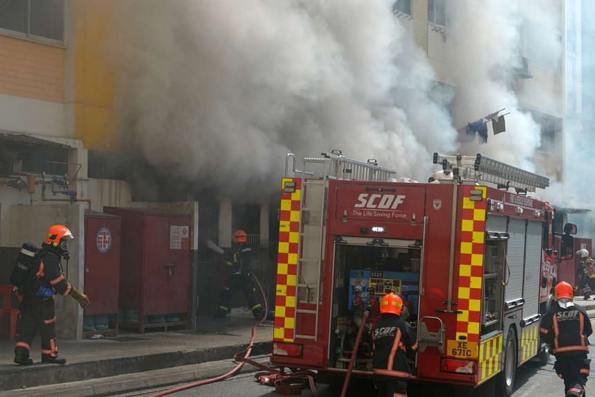 A fire broke out in a coffeeshop at Blk 257, Bangkit Road, in Bukit Panjang.