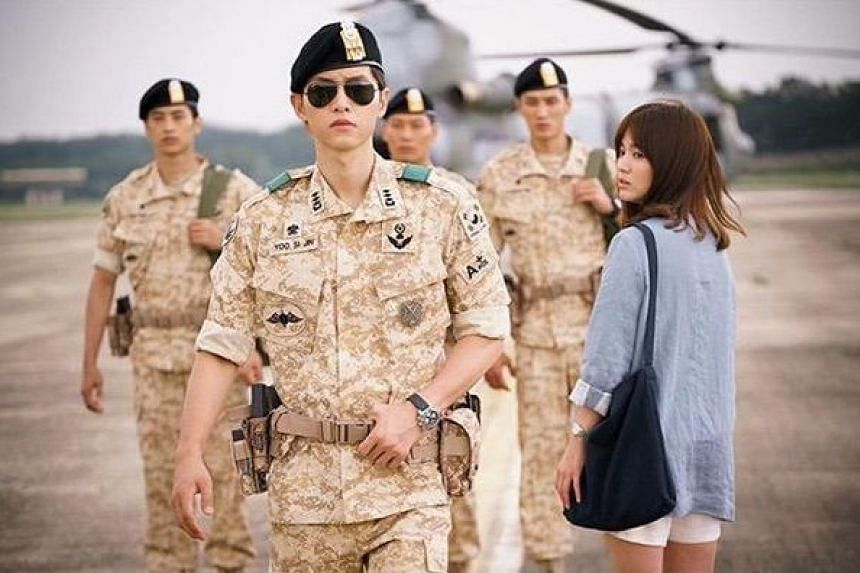In Descendants Of The Sun, Song Joong Ki plays a soldier who falls for a surgeon, portrayed by Song Hye Kyo.