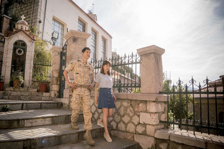 In Descendants Of The Sun, Song Joong Ki (left) plays a soldier who falls for a surgeon, portrayed by Song Hye Kyo.