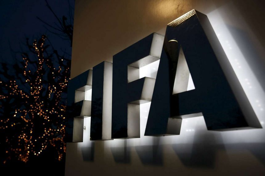 The FIFA logo outside the FIFA headquarters in Zurich.