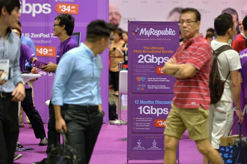Visitors at the MyRepublic booth on the first day of COMEX 2015 at the Suntec Singapore Convention and Exhibition Centre on Sept 3, 2015.