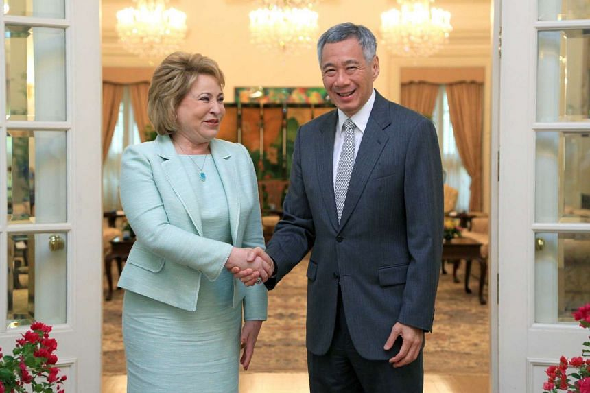 Prime Minister Lee Hsien Loong received a courtesy call from Mrs Valentina Matvienko, Chairperson of the Federation Council of Russia,  at the Istana on March 16, 2016.