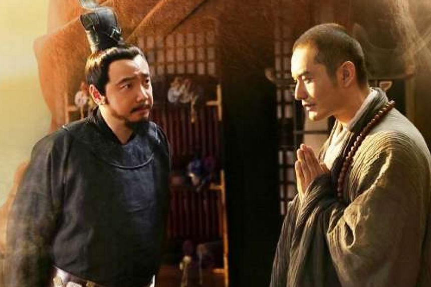 Actors Xu Zheng (left) and Huang Xiaoming (right) in a promotional poster for a film about the journeys of 7th-century monk Xuan Zang.