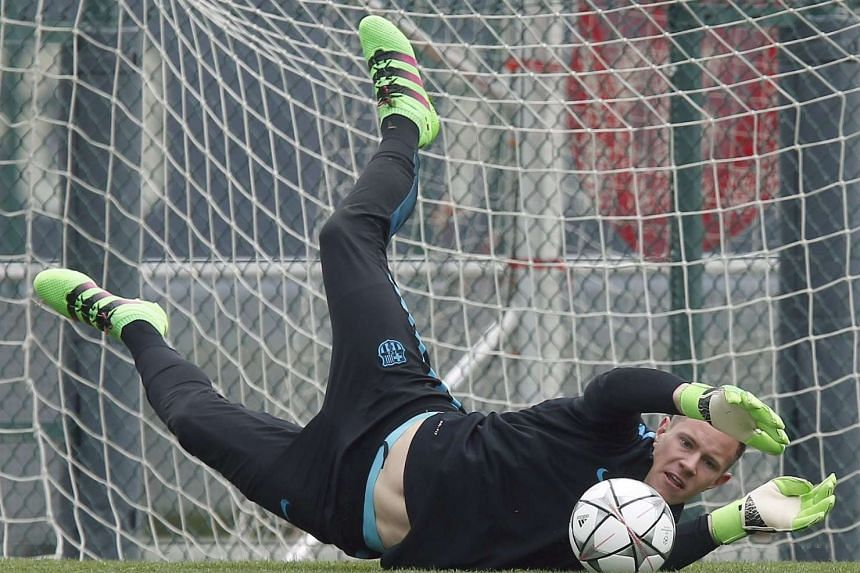 Barcelona's goalkeeper Marc-Andre ter Stegen training at the team's Joan Gamper sports complex in Barcelona on March 15.