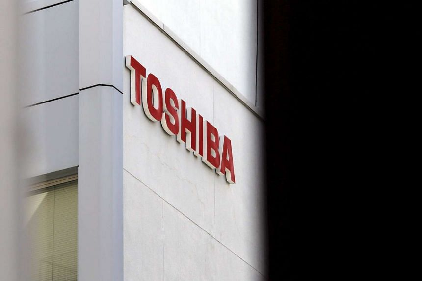 The logo of Toshiba Corp is seen at a building in Tokyo.