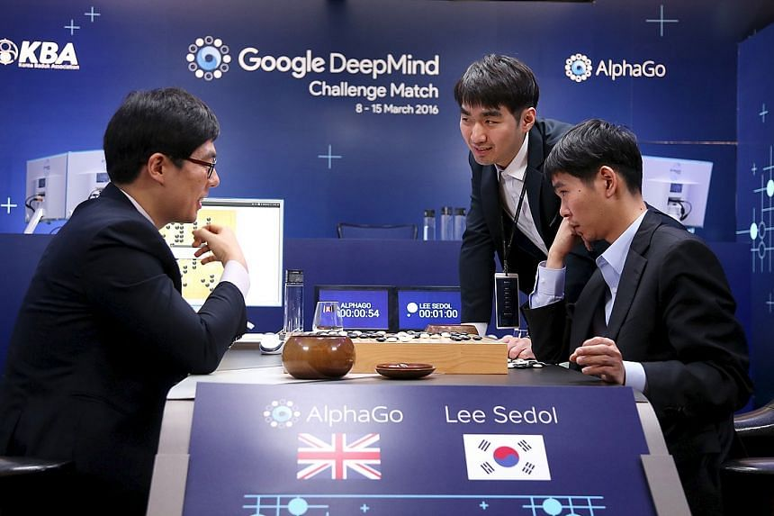 Lee Sedol reviews the fourth match of the Google DeepMind Challenge Match against Google's artificial intelligence program AlphaGo.