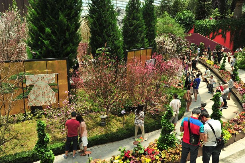 Gardens by the Bay's latest floral display Blossom Beats at the Flower Dome on March 15, 2016.