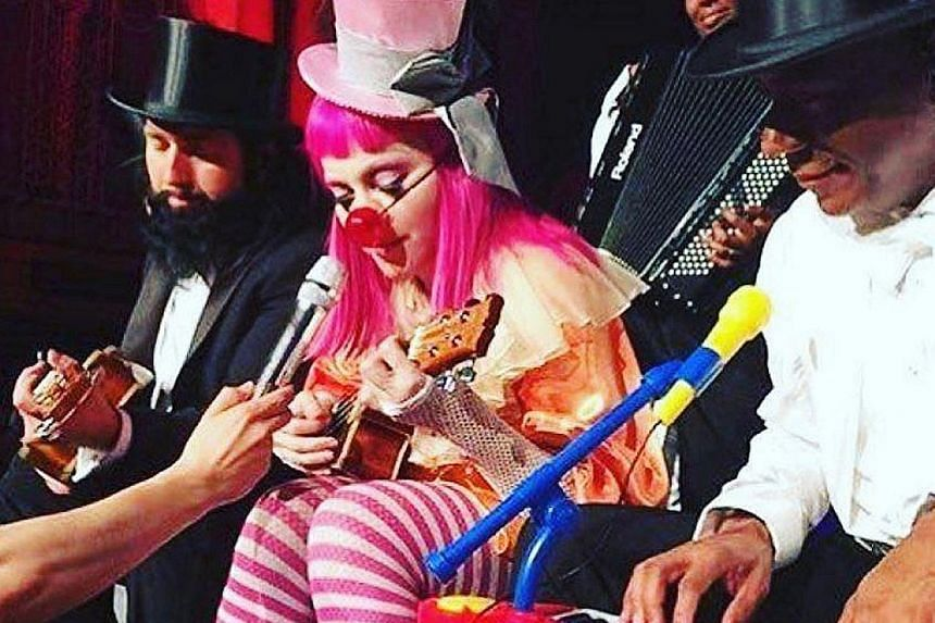 Madonna performing a special Tears Of A Clown show in Melbourne, Australia.