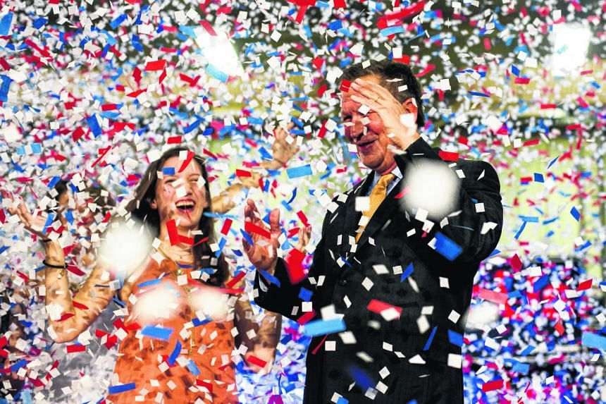 Mr Kasich celebrating his win in Ohio. He feels he has the best chance of beating Democrat Hillary Clinton in the Nov 8 polls.